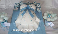 Blue and white Baby Bump cake