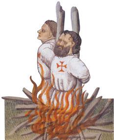 Bûcher de Jacques de Molay et de Geoffroy de Charnay, le 18 (ou 11) mars 1314.