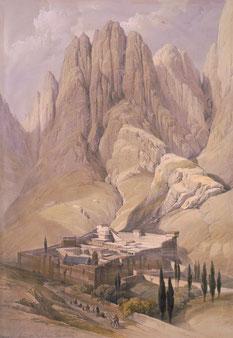 Monastère Sainte-Catherine en 1839 - Lithographie de David Roberts