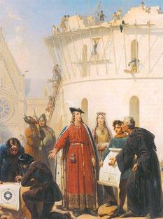 Philippe Auguste visite le chantier de la Grosse Tour. Tableau du XIXe siècle de Jean-Baptiste Mauzaisse (1784-1844). Paris, Musée du Louvre. Temple de Paris