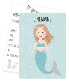 Einladungskarte Meerjungfrau