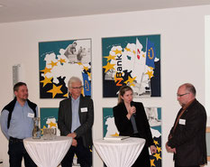 Unter der Moderation von Nachhaltigkeitsberaterin Anja Blankenburg schilderten (von links) Amos Ramsauer, Volker Krause und Ekkehard Heilemann ihre Erfahrungen der Beratungs- und Förderangebote im Bereich Innovation und Nachhaltigkeit.