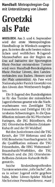 Quelle: Mannheimer Morgen, 25. August 2016, Seite 12
