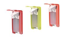 Desinfektionsmittelspender in Signalfarbe für erhöhte Compliance in der Krankenhaushygiene, Edelstahspender und Desinfektionsmittelsäulen