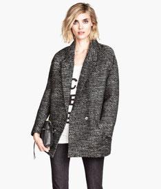 H&M tweed boyfriend coat