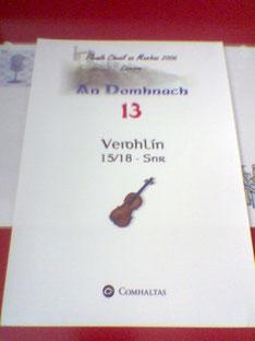 """Munsterフラーのフィドル部門の会場。アイルランド語でフィドルは「fidil」と綴るのですが、フラーコンペティションでは「veidhlin」と綴るのが慣しとなっています。""""veidhlin""""とはアイルランド語でバイオリンの意です。"""