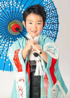 5-34 葵紋と龍 ホリゾンブルーの着物
