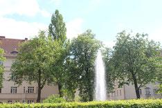 Fontaine auf dem Zentralen Platz Gartenstadt Ceciliengaerten. Foto: Helga Karl