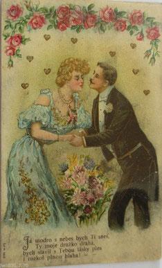1900年ゴールドエンボス印刷ポストカード、女性、男性、シリーズ666