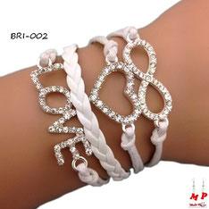 Bracelet infini blanc symboles love et coeur en strass