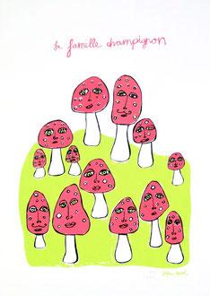 «La famille champignon» (Farbvariante Grün) Siebdruck 3 Farben