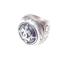 massiver Silberring Drachenmotiv und Ornamente