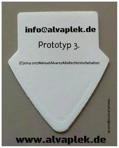 Alvaplek premium (Prototyp) Gitarrenplektrum, Manuel Alvarez Gitarrenpleks,www.alvaplek.de