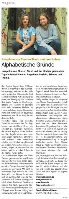 Zeitungsartikel zum Topic Slam mit Jan Lindner und Josephine von Blueten Staub im Blitz! Leipzig