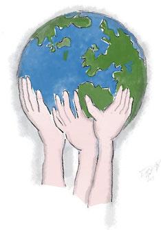 Erde halten die Hände Zeichnung