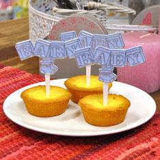 Cupcake prikker blokken BABY blauw 12 st € 5,50