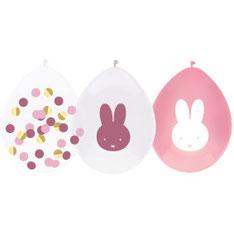 Ballonnen € 3,95 Nijntje roze confetti 5 stuks