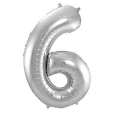 Folieballon Zilver 6 € 3,99 86cm