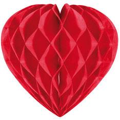Honeycomb Hart € 3,25 rood 30cm