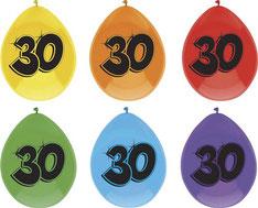 """Ballonnen """"30"""" 6 stuks € 2,25"""