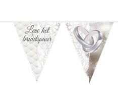 Vlaggenlijn Leve het Bruidspaar Ringen 10m € 2,50