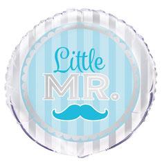 """Folieballon Blue Moustache """"Little Mr"""" 45cm € 2,25 p.st."""