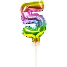 Folieballon Taart Topper Regenboog 5 € 1,50 13cm