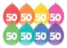 """Ballonnen """"50"""" 6 st € 2,25"""