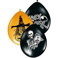 Ballonnen heks, skelet, insect 8 st € 3,25 UITVERKOCHT