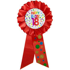 Rozet € 2,95 stippen Happy Birthday 18