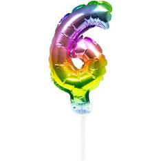 Folieballon Taart Topper Regenboog 6 € 1,50 13cm