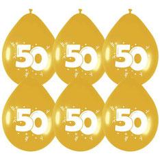 Ballonnen goud 50 6 stuks € 2,25
