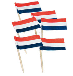 Cocktailprikkers Nederlandse vlag 50 stuks € 1,50