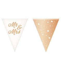 Vlaggenlijn Mr&Mrs rose goud 6m € 3,95