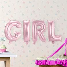 Folieballon GIRL zacht roze 36 cm hoog € 4,95