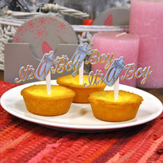 """Cupcake prikker drinkfles """"It's a boy"""" 12 st € 5,50"""