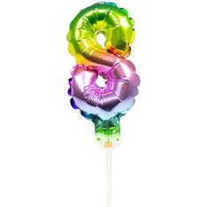 Folieballon Taart Topper Regenboog 8 € 1,50 13cm
