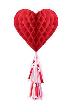 Honeycomb met franjestaart rood hart € 5,99 75cm