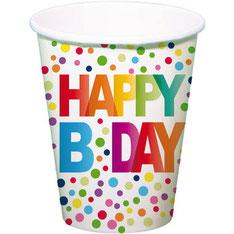 Bekers Happy B.Day Stippen €2,50 8 stuks 250 ml