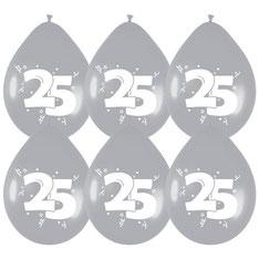 Ballonnen zilver 25 6 stuks € 2,25