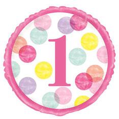 Folieballon Pink Dots First Birthday € 2,25