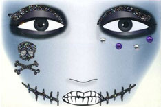Gezicht sticker Halloween Black Scar € 2,25