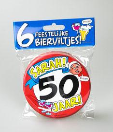 Bierviltjes Hoera Sarah 50 jaar €4,95