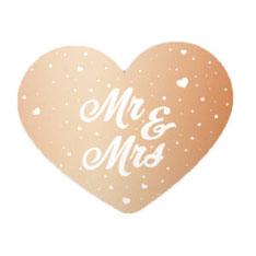 Mr&Mrs Rosé Goud Deurbord 56x46 cm € 4,99
