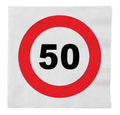 Servetten verkeersbord 50 € 2,25 16stuks