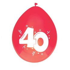"Ballonnen robijn ""40"" € 2,25"