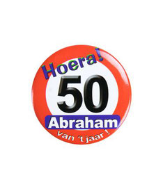 Button klein Abraham verkeersbord € 1,95