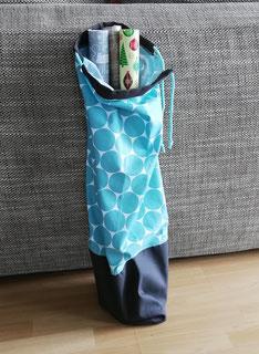 Tasche für Geschenkpapier und Geschenkband, grauer Canvas, und türkise Baumwolle mit Dots,