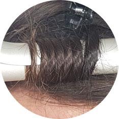 Haarsträhne gedreht ohne Zwischenraum