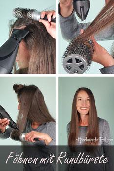 Haare mit Rundbürste richtig föhnen